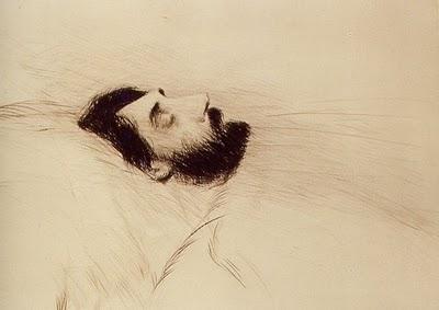 Proust sur son lit de mort, pointe seche